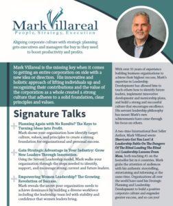 Speaker One Sheet, Mark Villareal