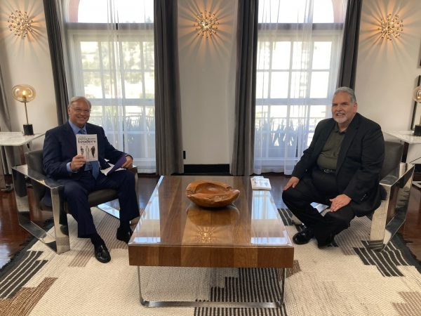 Jack Canfield, New York Times multi #1 Bestselling Author (Chicken Soup For The Soul, The Success Principles) and Mark Villareal on set of Hollywood Live weekly TV Show